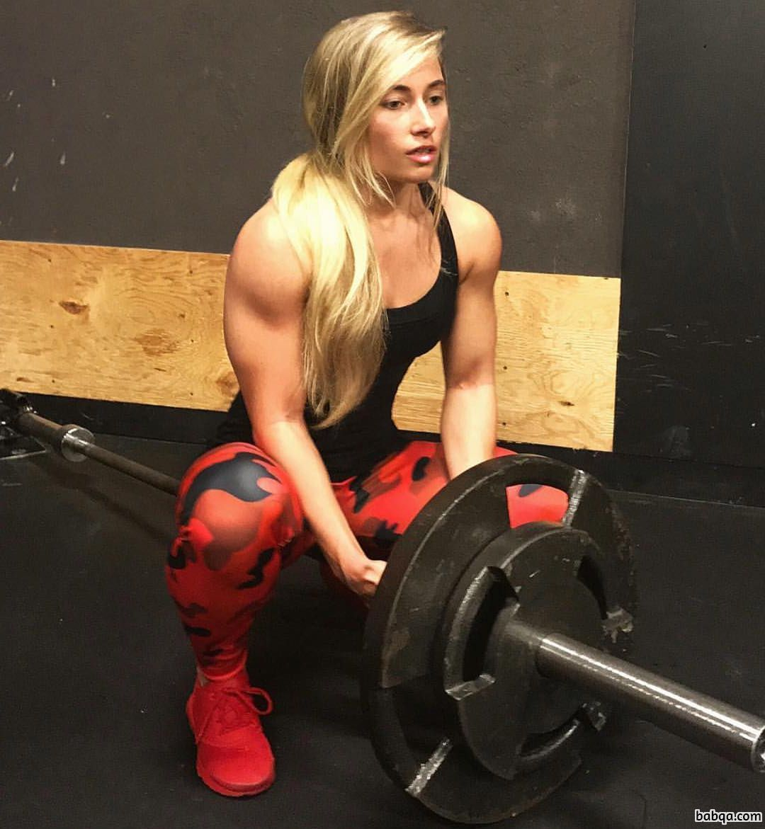beautiful lady with strong body and muscle biceps photo from instagram