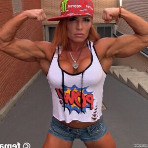 perfect female bodybuilder with strong body and muscle arms image from instagram