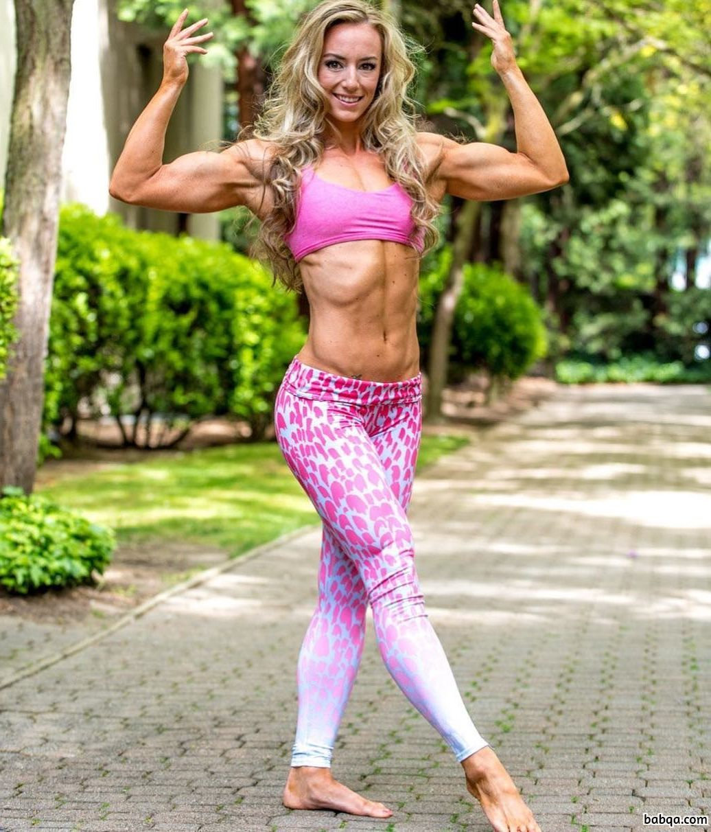 hot woman with strong body and muscle legs photo from linkedin