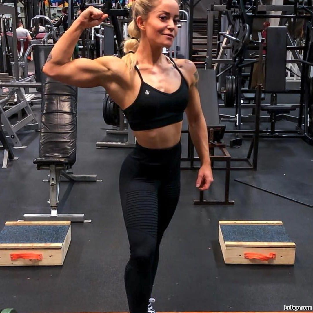 cute lady with strong body and toned biceps picture from insta