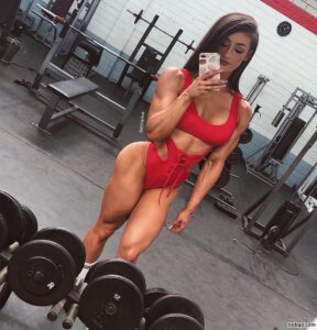spicy female bodybuilder with fitness body and toned legs photo from instagram